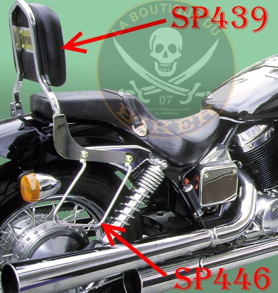 SISSI-BAR HONDA VT750 BLACK WIDOW....SANS PORTE PAQUET CHROME..SP439 SPAAN LA BOUTIQUE DU BIKER