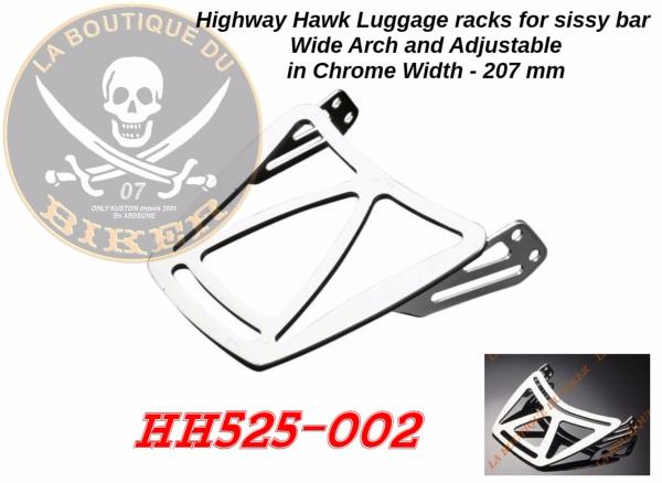 PORTE PAQUET POUR SISSI BAR 207mm HIGHWAY WIDE ET ARCH CHROME...H525-002...LA BOUTIQUE DU BIKER