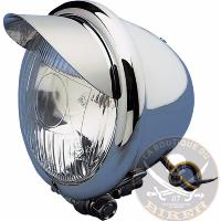 PHARE 115mm ADDITIONNEL CHROME H3 55W AVEC VISIERE...DS280055...LA BOUTIQUE DU BIKER