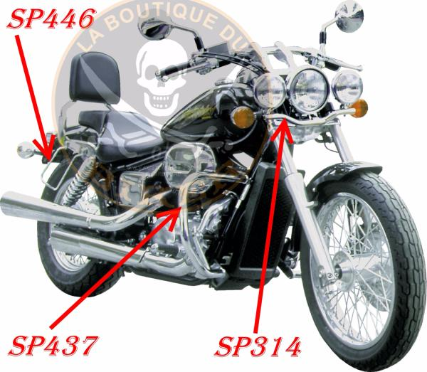 BARRE de PROTECTION MOTEUR HONDA VT750 BLACK WIDOW...SP437...SPAAN LA BOUTIQUE DU BIKER