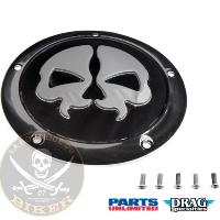 CACHE EMBRAYAGE HD FL A PARTIR 2015...PE11070553 DRAG SPECIALTIES COVER DERBY SPLIT SKULL 5-HOLE BLA