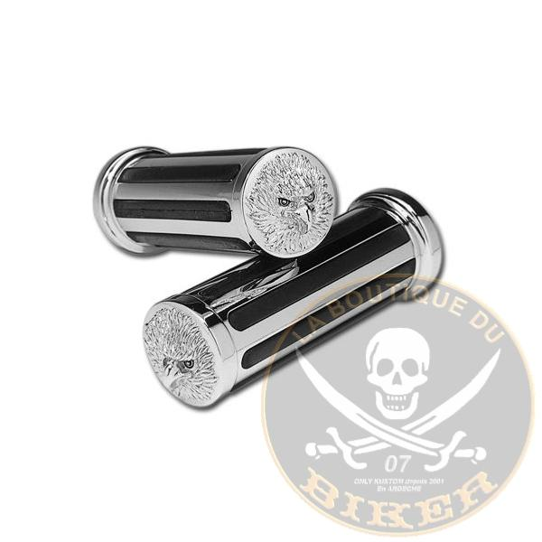 POIGNEES POUR GUIDON DE 25 AIGLE... CC12927...Chrome & Rubber Eagle Handlebar Grips