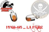 BOULON OBUS CHROME Powercap with Amber Lens...LA PAIRE...HH68-485...LA BOUTIQUE DU BIKER