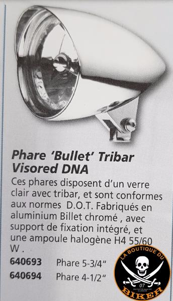 PHARE 146mm DNA CHROME ALUMINIUM BILLET 146mm...CC640693...LA BOUTIQUE DU BIKER