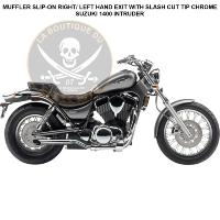 POTS SUZUKI VS1400 INTRUDER...BLV3165TSSC...MUFFLER SLIP-ON RIGHT/ LEFT HAND EXIT WITH SLASH CUT TIP