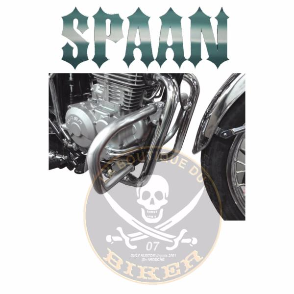 BARRE de PROTECTION MOTEUR JAWA 350 OHC...SP1102 CHROME...SPAAN-LA BOUTIQUE DU BIKER