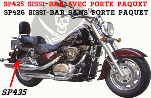 SISSI-BAR SUZUKI VL1500 LC INTRUDER + C1500 JUSQUA 2009...AVEC PORTE PAQUET CHROME...SP425