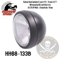 PHARE 115mm ADDITIONNEL NOIR PLAT H3/55W HOMOLOGUE...HH68-133B...LA BOUTIQUE DU BIKER