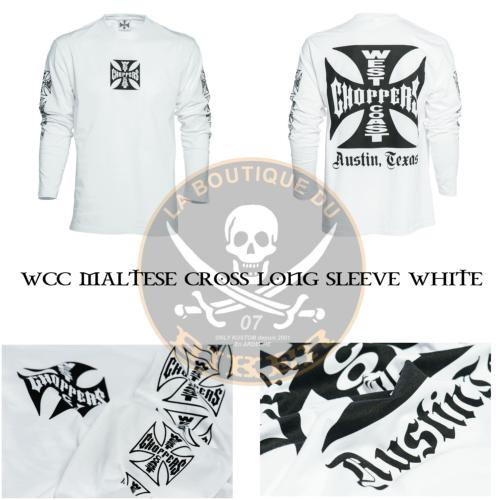 TEE-SHIRT...TAILLE XXXL MANCHES LONGUES WCC MALTESE CROSS LONG SLEEVE WHITE...MCS966204