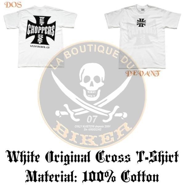 TEE-SHIRT...TAILLE L...CC482001 WCC IRON CROSS WHITE ...LA BOUTIQUE DU BIKER