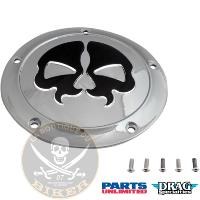 CACHE EMBRAYAGE HD FL A PARTIR 2015...PE11070552 DRAG SPECIALTIES COVER DERBY SPLIT SKULL 5-HOLE CHR