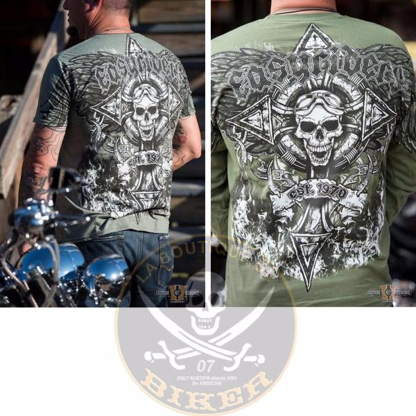 TEE-SHIRT...TAILLE XL...CC888669 Mens Aviator T-Shirt, Heather Military Grain...LA BOUTIQUE DU BIKER
