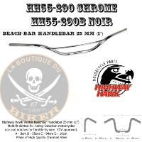 "GUIDON EN 25 HARLEY Beach-bar Handlebar 25 mm (1"") CHROME...HH55-290...LA BOUTIQUE DU BIKER"