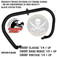 BARRE DE PROTECTION MOTEUR CHROME INDIAN CHIEF CLASSIC / VINTAGE NOIR 38mm...H598-020BK