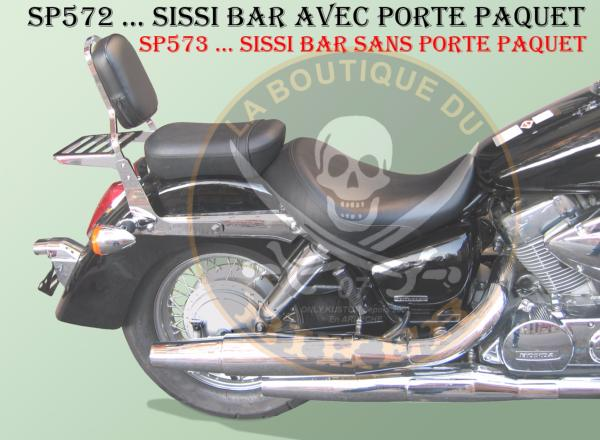 SISSI-BAR HONDA VT750 SHADOW C4/C5/C6/C7/C8...SANS PORTE PAQUET CHROME...SP573 LA BOUTIQUE DU BIKER
