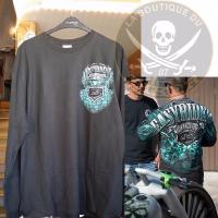 TEE-SHIRT...TAILLE XL MANCHES LONGUES...CC888698 EASYRIDERS Mens Ao Teal Skull..LA BOUTIQUE DU BIKER