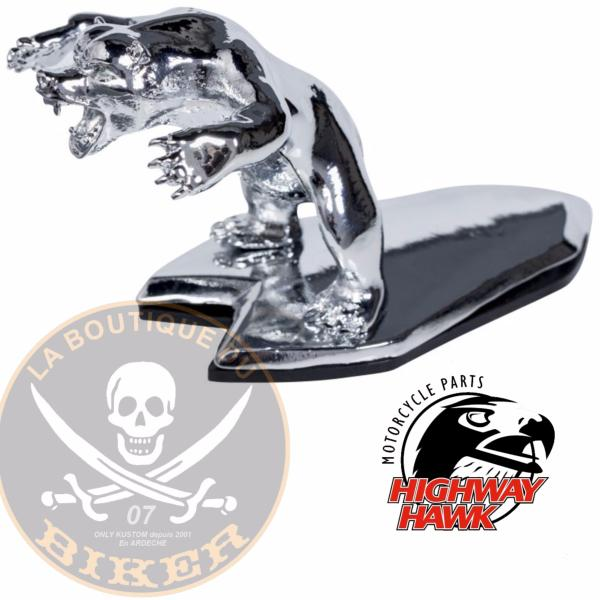 EMBLEME DE GARDE-BOUE OURS...H02-092...Wild Bear Ornament Chrome...LABOUTIQUEDUBIKER