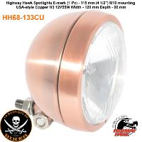 PHARE 115mm ADDITIONNEL CUIVRE PLAT H3/55W HOMOLOGUE...HH68-133CU...LA BOUTIQUE DU BIKER