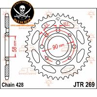 COURONNE 428/42T DAELIM...JTR269.42 JT SPROCKETS JTR269.42 REAR REPLACEMENT SPROCKET 42 TEETH 428 PITCH NATURAL STEEL