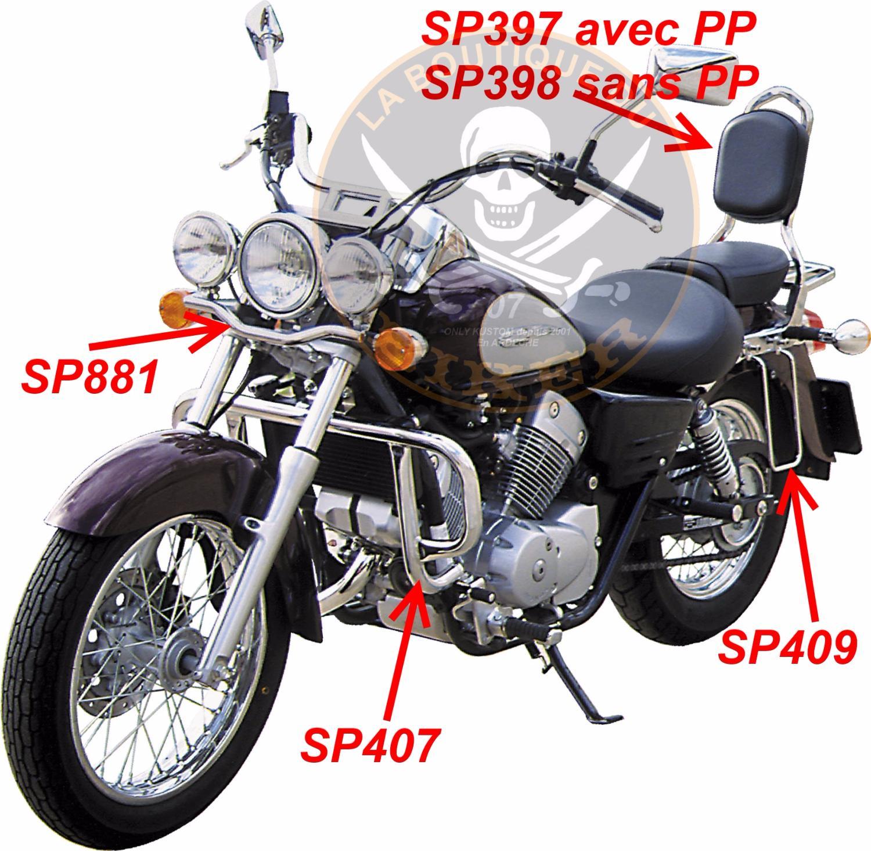 barre de protection moteur honda vt125 shadow chrome sp407 spaan la boutique du biker. Black Bedroom Furniture Sets. Home Design Ideas