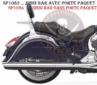 INDIAN CHIEF CLASSIC + VINTAGE + CHIEFTAIN...SISSI-BAR CHROME AVEC PORTE PAQUET...SP1083