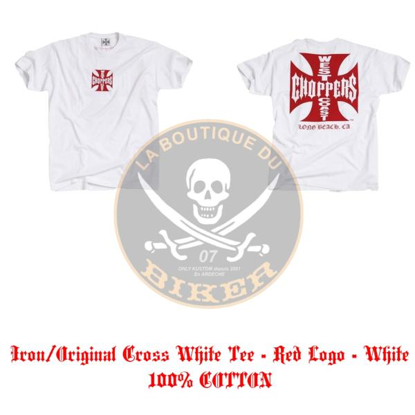 TEE-SHIRT...TAILLE XXL...WCC IRON CROSS WHITE...MCS957220 LA BOUTIQUE DU BIKER