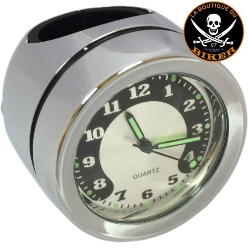 MONTRE DE GUIDON POUR GUIDON DE 25 mm...PE22120725 DRAG SPECIALTIES BAR MOUNT CLOCK CHROME