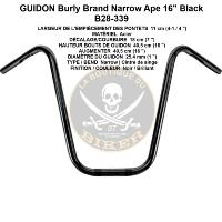 "GUIDON EN 25 HARLEY HANDLEBAR APE HANGER NARROW 16"" BLACK BURLY..PE06010848..LABOUTIQUEDUBIKER"
