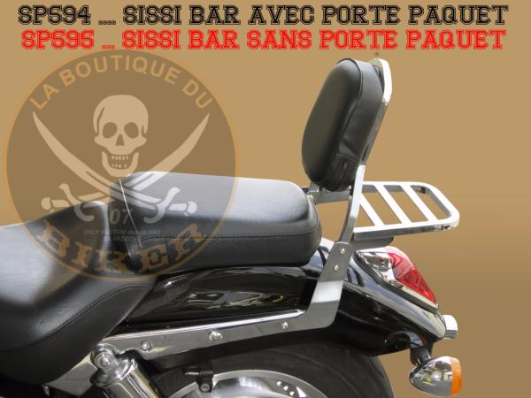 SISSI-BAR HONDA VTX1800...AVEC PORTE PAQUET CHROME...SP594 SPAAN LA BOUTIQUE DU BIKER