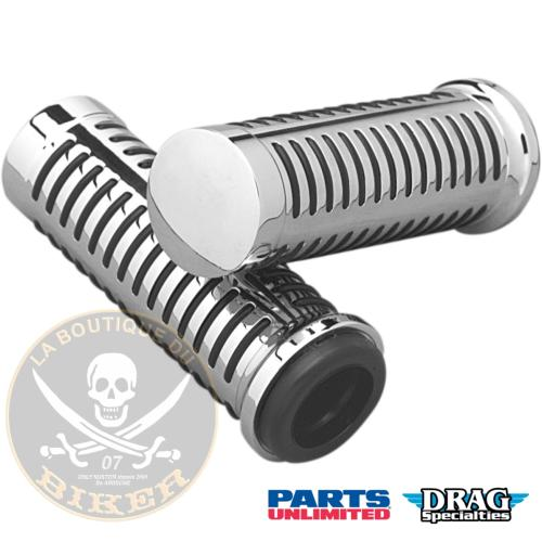 POIGNEES POUR GUIDON DE 25 PARTS UNLIMITED CHROME GRIPS 4 O-RING...DS243185...LA BOUTIQUE DU BIKER