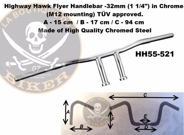 GUIDON YAMAHA CHROME en 25/32 FLYER...H55-521...LA BOUTIQUE DU BIKER