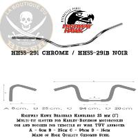 "GUIDON EN 25 HARLEY Beach-bar Handlebar 25 mm (1"") CHROME...HH55-291...LA BOUTIQUE DU BIKER"