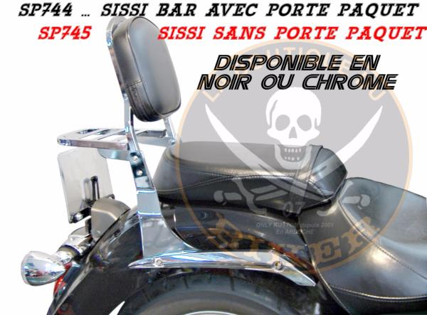 SISSI-BAR YAMAHA 1300 MIDNIGHT STAR...AVEC PORTE PAQUET CHROME...SP744 SPAAN LA BOUTIQUE DU BIKER