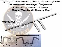 GUIDON SUZUKI EN 25/32 FAT WISHBONE CHROME...H55-504...LA BOUTIQUE DU BIKER