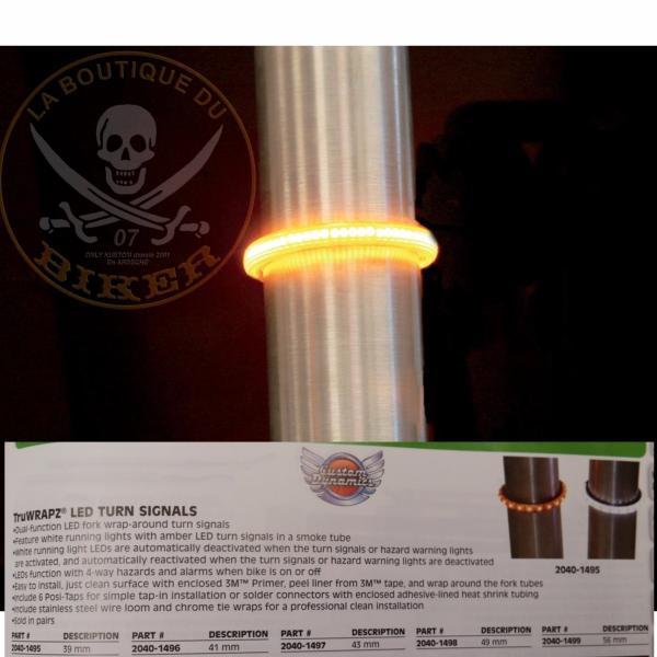 d149c17d6eff1 CLIGNOTANTS DE FOURCHE 41mm LED CLAIR...CUSTOM DYNAMICS  TRUWRAPZ......PE20401496...LABOUTIQUEDUBIKER