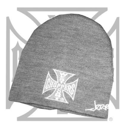 BONNET WEST COAST CHOPPERS WCC Iron Cross Beanie Basic Grey...MCS957045...LA BOUTIQUE DU BIKER