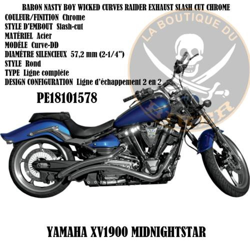 POTS YAMAHA XV1900 BARON NASTY BOY WICKED CURVES RAIDER EXHAUST SLASH CUT CHROME...PE181015778